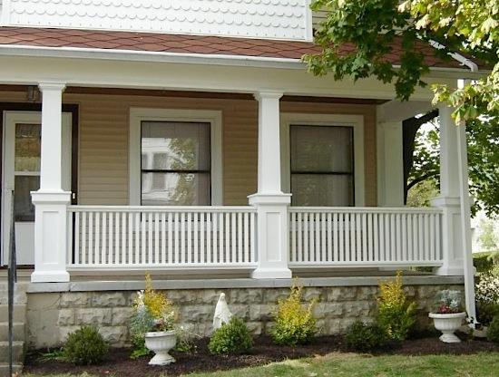railings on pvc column pedestal